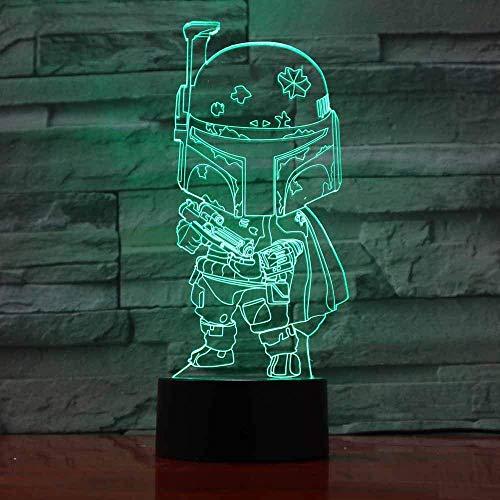 Space War Fighter Lámpara de ilusión 3D para niños, niñas, regalo, luz de noche 3D para el dormitorio junto a la mesa, lámpara de mesa de escritorio con 16 colores cambiantes, regalo para niños
