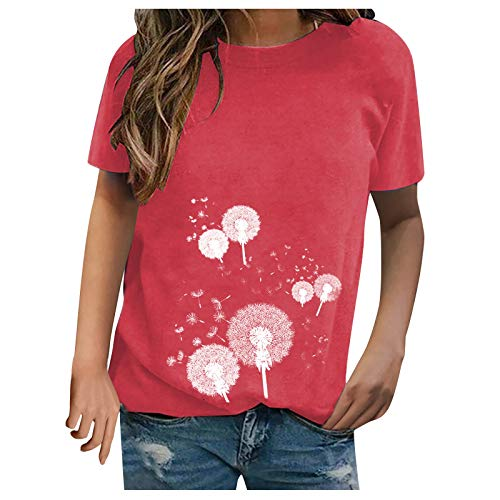 Summer Tops for Women Casual Short Sleeve Blouse Tops Solid Color O Neck T Shirts Fashion Dandelion Print Tunic Tops Plus Size Crewneck Tops for Teen Girls