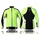 Wolfbike - Chaqueta térmica de forro polar para ciclismo (manga larga, cortavientos), color verde