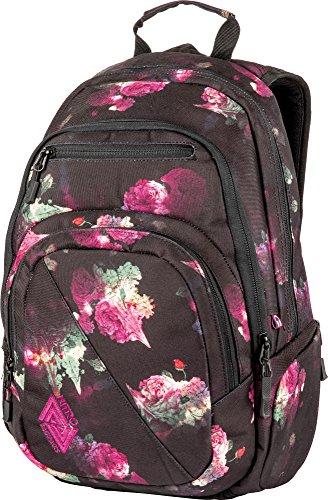 Nitro Stash Rucksack Schulrucksack Schoolbag Daypack Damenrucksack Schultasche schöne Rucksäcke Alltag Fahrradtasche, Black Rose, 29L