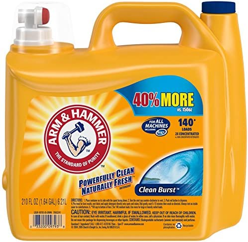 Arm & Hammer Laundry Detergent Liquid He, Clean Burst, 210 Ounce