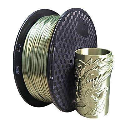 Silk Green Bronze PLA Filament 1.75mm 3D Printer Filament 1KG (2.2LBS) Printing Materials Bronze Shine Silky Shiny Bronze Metallic Metal Look Silk Like CC3D Also Silk Gold Silver Copper