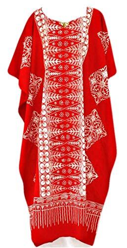 Cool Kaftans New Malaya Baumwolle Kaftan-Kleid-Schwarz, Lila, Rot Plus-Ladies Beach Womens Fein Batik Red