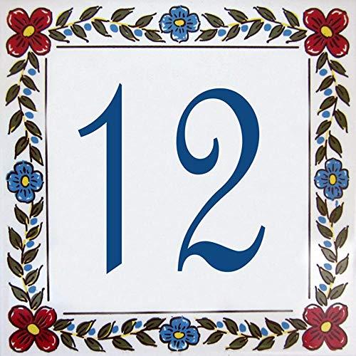 Placa con número de casa y Nombre de la Calle Personalizable - Azulejo de Barro – 10x10, 15x15 ou 20x20cm