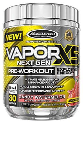 Pre Workout Powder   MuscleTech Vapor X5   Pre Workout Powder for Men & Women   PreWorkout Energy Powder Drink Mix   Sports Nutrition Pre-Workout Products   Watermelon Candy (30 Servings)