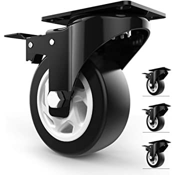 """4"""" Swivel Caster Wheels with Safety Dual Locking and Polyurethane Foam No Noise Wheels, Heavy Duty - 300 Lbs Per Caster (Pack of 4)"""