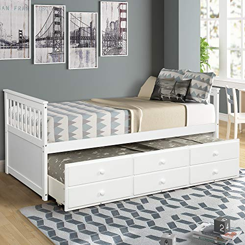 Danxee Kids Captain's Bed Twin Daybed with Trundle Bed and 3 Storage Drawers No Box Spring Needed for Kids Guests (White)