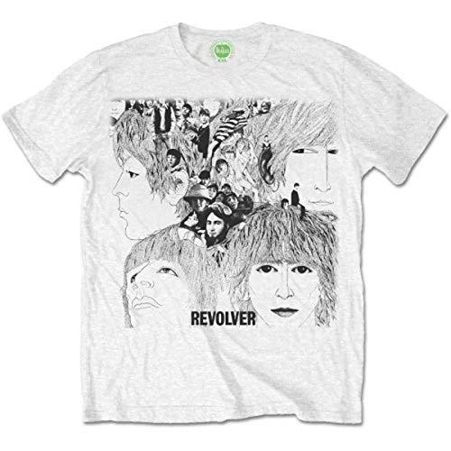 Générique The Beatles Revolver Album Cover T-Shirt, Blanc, (Taille Fabricant: Large) Homme