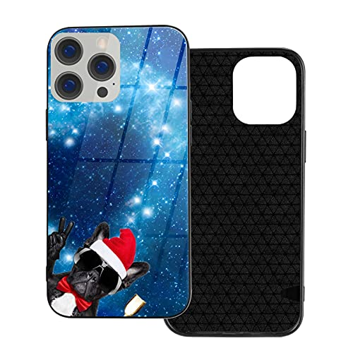 Santa Claus Champagne Cup for French Bulldog Ip12-6.1 for iPhone 12 Glass Case Shockproof Design,TPU Bumper with Protective Hard Case Cover