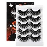 JIMIRE High Volume False Eyelashes Halloween Fluffy 3D Lashes Pack 5 Pairs