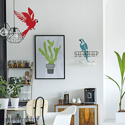Pájaro Loro Plantilla Decoración Hogar Pintura Plantilla Pintura Paredes Muebles, Telas Crear a la Medida Pintado Acabados a Decoración Casa & Proyectos de Manualidades Reutilizable Plantillas
