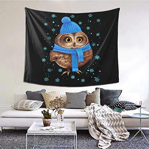 Hdadwy Navidad búho Tapiz de Pared Decorativo Dormitorio Sala de Estar Dormitorio Fiesta decoración 60x51 Pulgadas