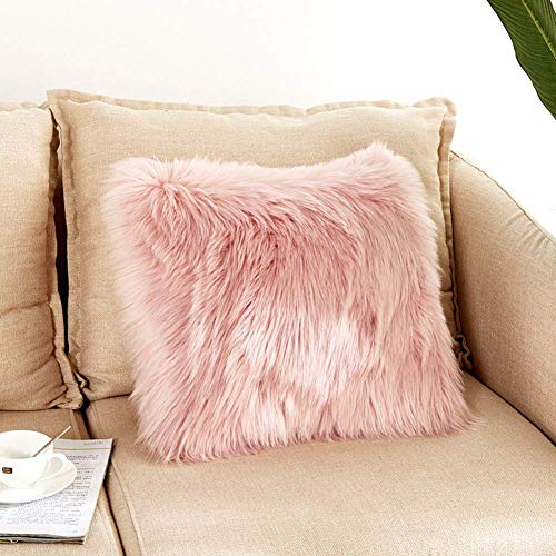DQMEN Funda Cojines, Funda Almohada de Suave Piel sintética de Lana, Cojín Cubierta Tiro Funda de Almohada Sofá Decoración (Rosa, 45 x 45cm)