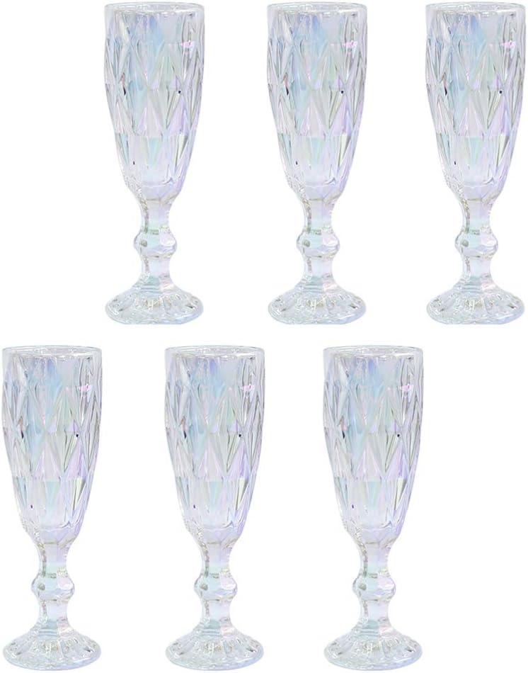 Hemoton 6Pcs Vintage Glass Max 51% OFF Wine Wholesale Stem Gob Clear Goblet