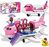 Liberty Imports Pink Airplane Toy Private Jet Transport Cargo Vehicle - Big Large Aircraft Plane with Figures and Beauty Accessories Pretend Playset for Toddler Girls
