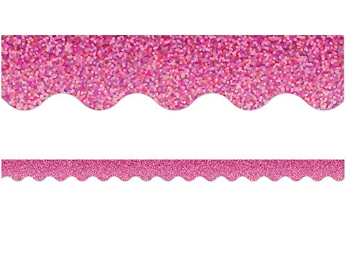 Pink Sparkle Scalloped Border Trim