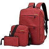 3 Piezas Mochilas Unisex Mochila Inteligentes para Ordenador PC Portatil Oficina Trabajo Viaje Escuela Hombre Mujer Impermeable Articulos Escolares (Rojo)