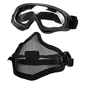 PuddingStation Airsoft Mask and Goggles AdjustableSteel Mesh Mask Half Face Protection Face Skull Set Outdoor Glasses Goggles for Paintball Shooting Cosplay War Game