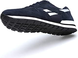 VHBSDINE Men's Leather Sneakers Breathable Casual Shoes Non-Slip Outdoor Walking Shoes Light Weight Rubber Sole Lace-Up