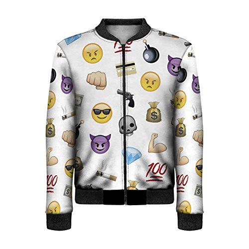 Bomberjacke für Damen mit Reißverschluss Gr. Einheitsgröße, Emoji Thug