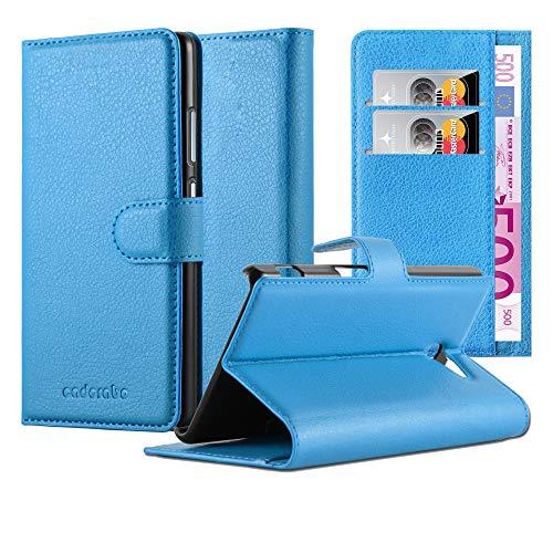 Cadorabo Hülle für Sony Xperia M2 in Pastel BLAU – Handyhülle mit Magnetverschluss, Standfunktion und Kartenfach – Case Cover Schutzhülle Etui Tasche Book Klapp Style