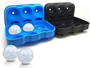 2 Packs of 6-Cavity Ice Ball Mold SourceTon Black and Blue Flexible Silicone Ice Sphere Tray Reusable Ice Ball Maker for W...