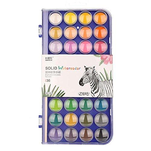 24/36/48 Colores Sólido Acuarela Tortas Pinturas Set Dibujo Pintura Artista Viaje Bolsillo Set Pintura Pintura(661-36 colores)