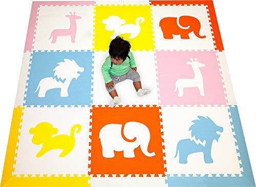 SoftTiles Kids Foam Playmat- Safari Animals- Premium Nontoxic Interlocking Foam...