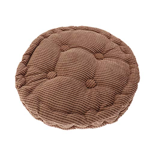 SM SunniMix Coussin de Chaise Rond Siège Respirant Coussin Japonais Coton Tatami Coussin pour Lit Voiture - café