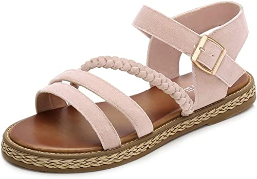 PFMY.DG Mode Des sandales Aux femmes, Dentelle Confortable Tête ronde Fond plat Chaussures simples, Fond épais