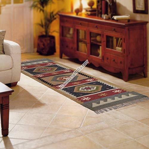 Handicraft Bazarr Alfombra de lana de yute tradicional para interiores y exteriores, 2,5 x 6 pies, alfombra para decoración del hogar, alfombra de yute Kilim
