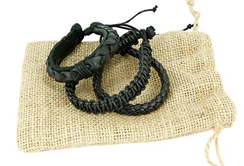ShalinIndia Indian Pelle Corda Nero Braccialetto da Uomo Strato Braccialetto Fatto a Mano in Pelle Wrap by