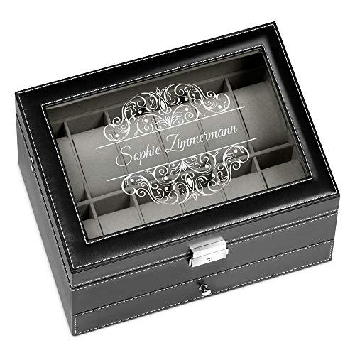 Murrano Uhrenbox mit Gravur für 12 Uhren & Schmuck - 30x20x13cm - Uhrenkasten aus Kunstleder - Schwarz - Geschenk für Damen - Motiv