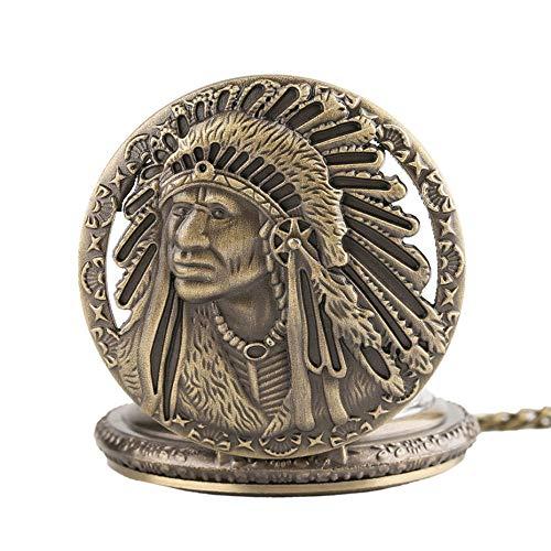 WOAIXI Retro Taschenuhr,Retro Antike Alte Mann Portrait Design Quarz Taschenuhr Normale Halskette Kette Uhren Uhr Sammlerstücke