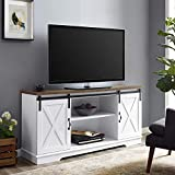 Walker Edison Furniture Company Modern Farmhouse Sliding Barndoor Wood Stand for TV's up to 65' Flat Screen Cabinet Door Living Room Storage Entertainment Center, 28 Inches Tall, White
