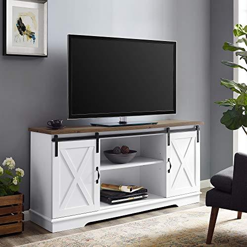 """Walker Edison WE Furniture AZ58SBDSW TV Stand 58"""" White/Rustic Oak, White/Reclaimed Barnwood"""