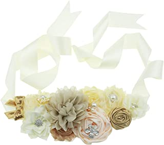 Flower Sash Belt with Rhinestone for Wedding Bride/Maternity Pregnancy Baby Shower Dress
