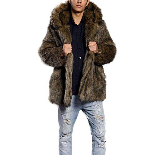 AKAUFENG Pelzmantel Mit Kapuze Kunst Felljacke Herren Leopard Muster Design Wind Coat, Winterjacke Mantel Kunstpelz Lange Jacke Faux Fur