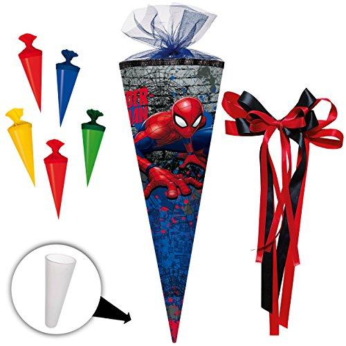 alles-meine.de GmbH komplette Füllung - Circa 200 Teile - für Set _ Schultüte + 5 kleine Zuckertüten -  Spider-Man / Spiderman  - - eckig - incl. große Schleife - Tüllabschluß ..