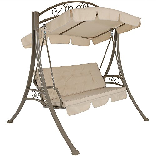 Sunnydaze Outdoor Porch Swing - Deluxe 3-Person Covered Patio Swing - Tilting Canopy Shade - Heavy-Duty Powder-Coated Steel Frame - Lawn Swing w/Beige Cushions - Perfect for Backyard, Deck, or Garden