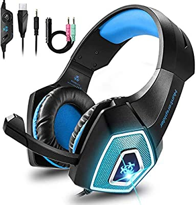 Babacom Gaming Headset, for Xbox One PS4 Headset with Noise Canceling Microphone & LED Light, Over-Ear Gaming Headphones with Soft Memory Earmuffs for PC, Mac, Laptop, Nintendo Switch