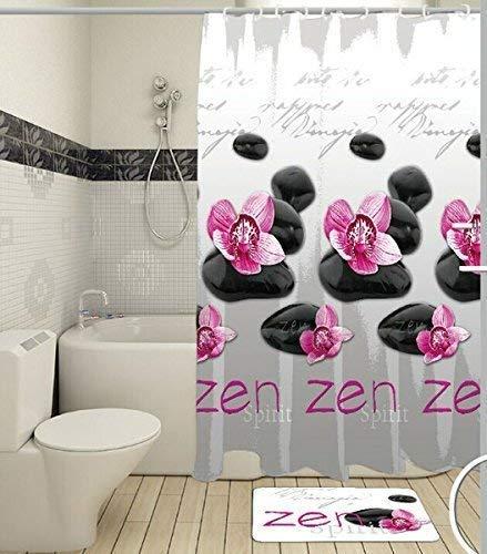 Duschvorhang Zen Anti-Bakteriell, waschbar, mit 12 Duschvorhangringen, 100 % Polyester Raumteiler