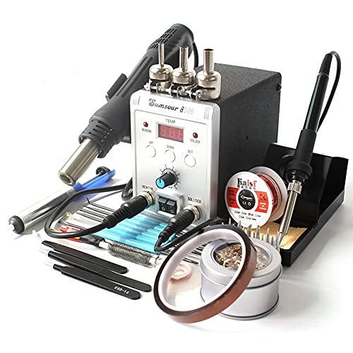 Kit de soldador eléctrico Estación de soldadura, Solder Hierro DesolDeding Estación de retrabajo Air Pistola de calor, herramientas de reparación de soldadura, Abrazaderas para herramientas de soldadu
