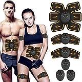 ROOTOK Electroestimulador Muscular, Abdominales Cinturón, Estimulador Muscular Abdominales, EMS Ejercitador del Abdomen/Brazo/Piernas/Cintura (Hombre/Mujer) (Negro)