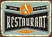 アンティークレストランロゴ美食良い人の壁に飾られたバー、レストラン、カフェバー12インチX8インチ