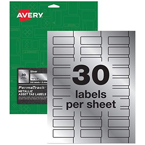 Avery PermaTrack Metallic Asset Tag Labels, 3/4 x 2, 240 Labels (61524)