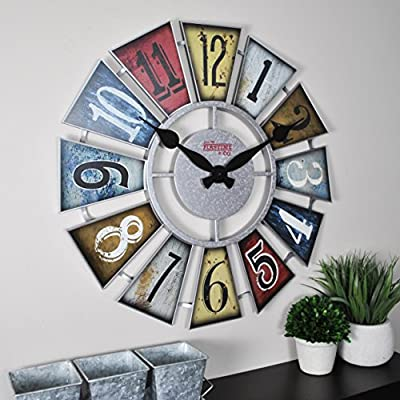 """FirsTime & Co. FirsTime Numeral Windmill Wall Clock, 24"""", Multicolor"""