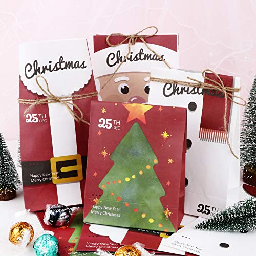 24 Bolsas Regalo Navidad Papel 4 Dibujos Diferentes Bolsas Navideñas con 30m Cuerdas Cañamo Regalo Caramelos Galletas Chuches Decoración Envolver Favores