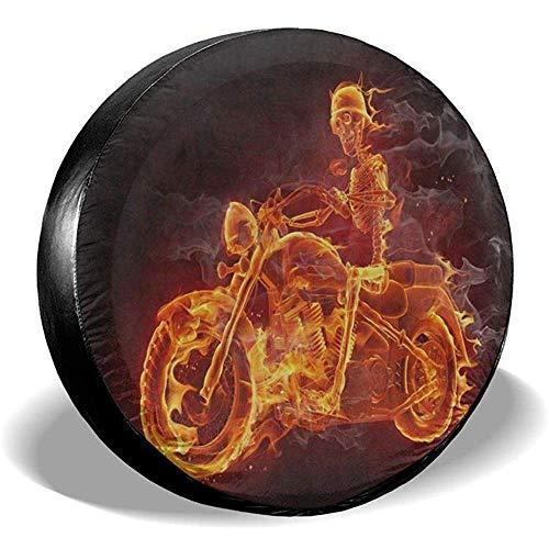 XZfly reservebandenafdekking vuur suiker schedel skelet paardrijden motorfiets universele wieldoppen voor Je-Ep Trailer RV SUV truck voor diameter
