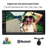 EINCAR 7' Kapazitive Touch-Screen Doppel-DIN-MP5 Autoradio Autoradios Video Multimedia-Player-Unterstützung Bluetooth/GPS/USB/TF/FM/Aux-Eingang mit freier Rückfahrkamera